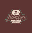 emblem with rough texture for hunter club vector image vector image