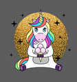 fantasy animal horse unicorn with ice cream vector image vector image