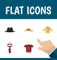 flat icon garment set of t-shirt elegant headgear vector image vector image