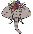 floral elephant head with flowers vector image vector image