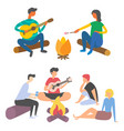 friends spending time and playing acoustic guitar vector image vector image