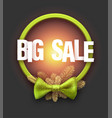 green big sale card with bow vector image vector image