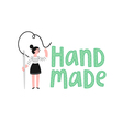 Handmade logo with a girl vector image vector image