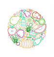 healthy eating circle concept line icons food vector image vector image