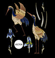 heron-crane embroidery with iris flowers vector image vector image