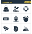 Icons set premium quality of journey at sea summer vector image