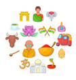 india icons set cartoon style vector image vector image