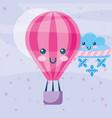 kawaii hot air balloon winter cloud with scarf vector image