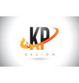 kp k p letter logo with fire flames design and vector image vector image