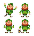 leprechaun cartoon character set for saint vector image vector image