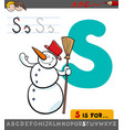 letter s with cartoon snowman vector image vector image