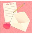 Love letter envelope and heart sticker eps10 vector image