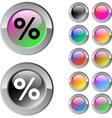Percent multicolor round button vector image vector image
