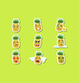 pineapple cute emoji stickers set on green vector image vector image