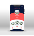 red and blue music playlist ui ux gui screen for vector image vector image