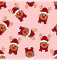 reindeer santa with red scarf on pink background vector image vector image
