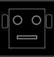 robot head white color path icon vector image