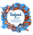 seafood and fish market sketch sea food vector image