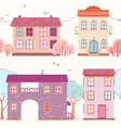 seamless pattern of the houses and trees vector image