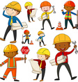 Set of engineers and construction workers vector image vector image