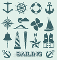 Set Sailing Icons and Symbols vector image vector image