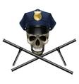 skull in a police cap vector image vector image