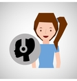 smiling girl music head headphones vector image