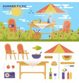 summer picnic in the garden vector image vector image