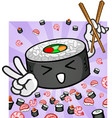 sushi character with chopsticks giving peace sign vector image vector image