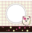 Template yellow and pink greeting card with owl vector image