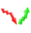 up and down arrows 3d financinal indication graph vector image vector image