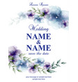 wedding card with watercolor flowers vector image vector image