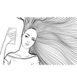 woman with long hair taking selfie vector image vector image