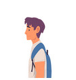 young man with backpack side view vector image vector image