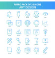 25 green and blue futuro art design icon pack vector image vector image