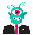 alien avatar monster in suit isolated on white vector image vector image