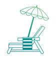 beach chair with towel and umbrella vector image