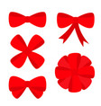 big red ribbon christmas bow icon set decoration vector image