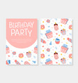 birthday party invitation card template with vector image vector image