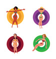 black and caucasian girls women resting on vector image vector image