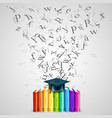 books color with flying letters vector image vector image
