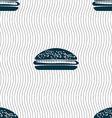 Burger hamburger icon sign Seamless pattern with vector image