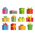 cartoon gift box christmas presents gifting vector image vector image