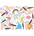 children draw on paper vector image