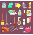 Cleaning maid equipment or service flat vector image vector image