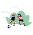 couple little girls in sports uniform vector image