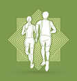 couple running together marathon runner vector image