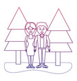 degraded outline happy couple together with pine vector image