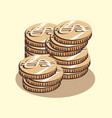 dollar coins money retro style vector image