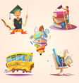 education cartoon retro set vector image vector image